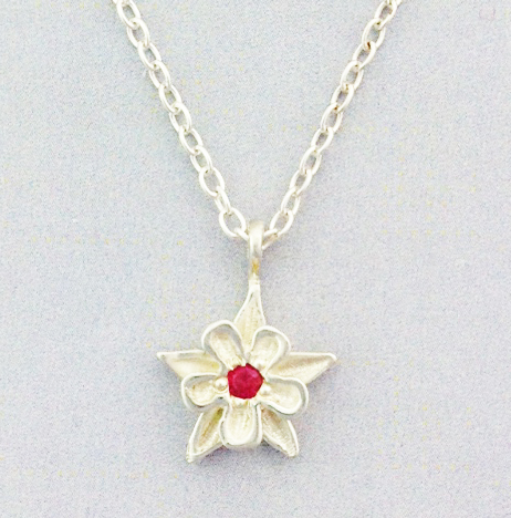 13MM-diameter-SS-Columbine-pendant-1-2.5-MM-pink-Sapphire-set-center-17-chain-SS-lobster-claw-clasp-jump-ring