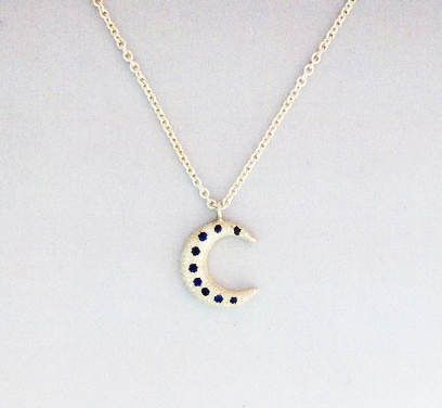SS-Crescent-Moon-Pendant-9-Blue-Sapphires-17-SS-Chain-lobster-claw-clasp-jump-ring-11MM-wide-12MM-high